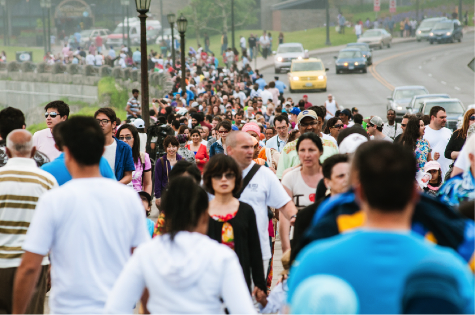 Thousands of tourists walk the Promenade at Niagara Falls, Ontario